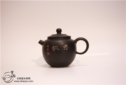 赖恒东装饰建水紫陶彩填壶